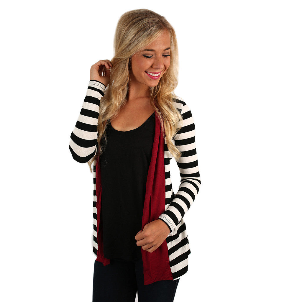 Perfectly Striped Cardi in Burgundy