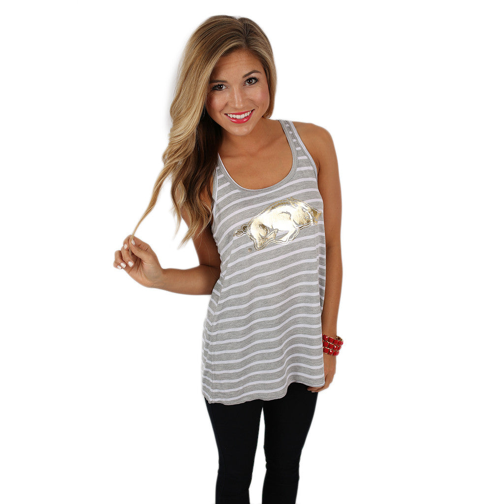 Flowy Stripe Tank with Gold Razorback