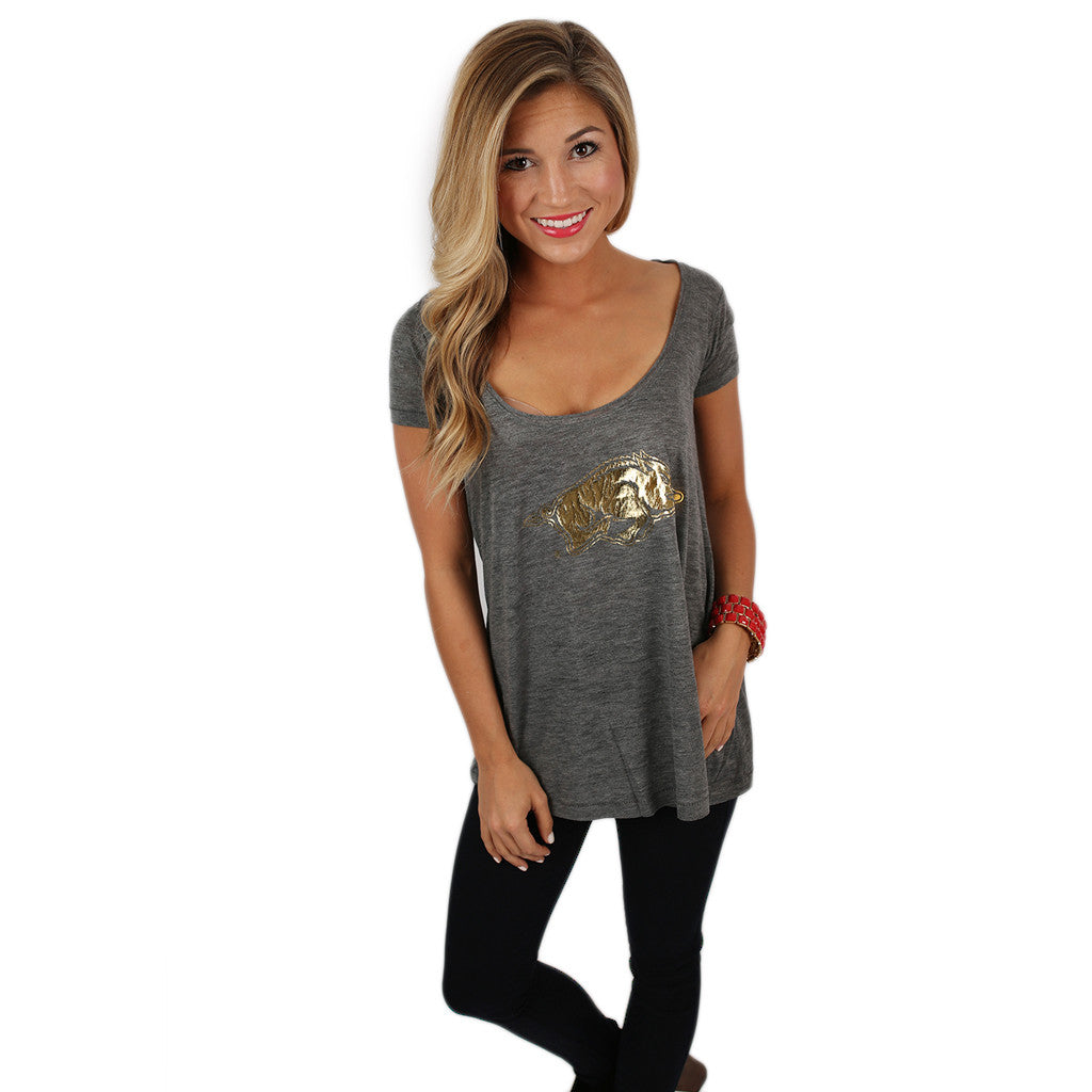 Dark Grey Drape Tee