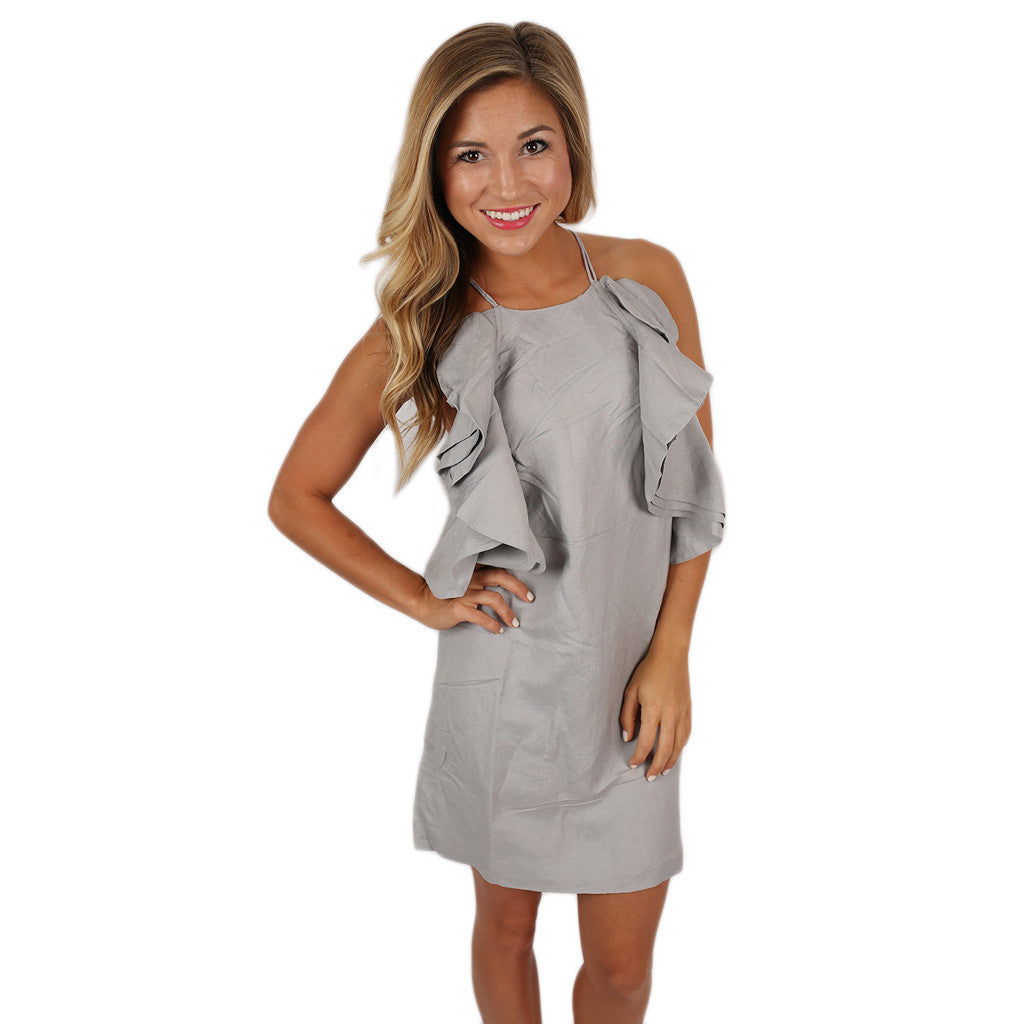 The Party Goes On Ruffled Dress Grey