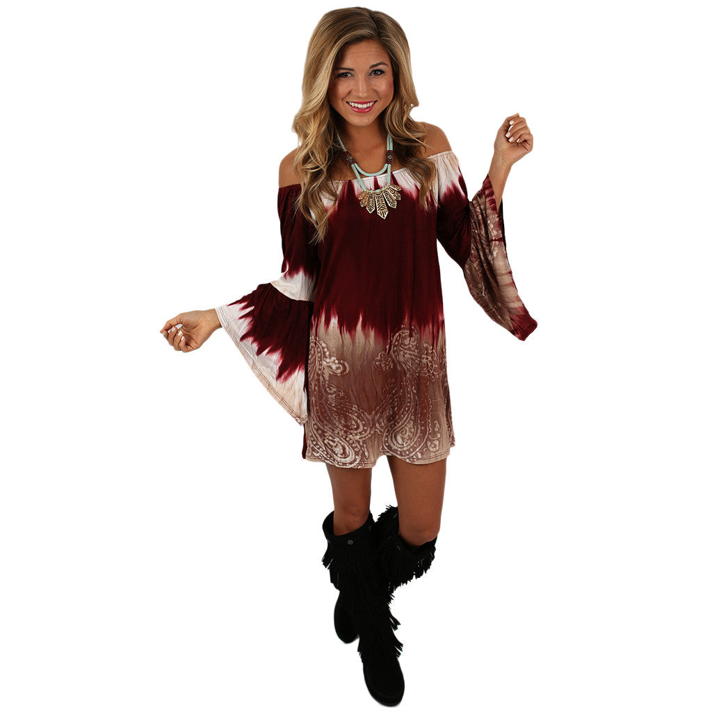 Southern Skies Tunic Dress in Burgundy