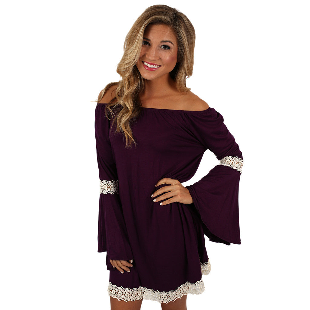 Pretty Girls Are The Happiest Girls Dress in Plum