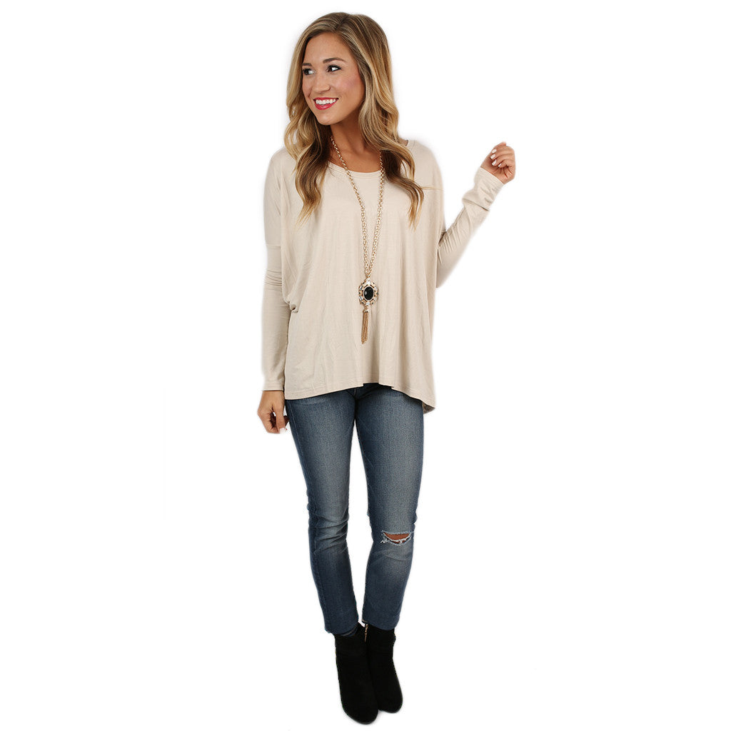 PIKO Tee Scoop Neck in Beige
