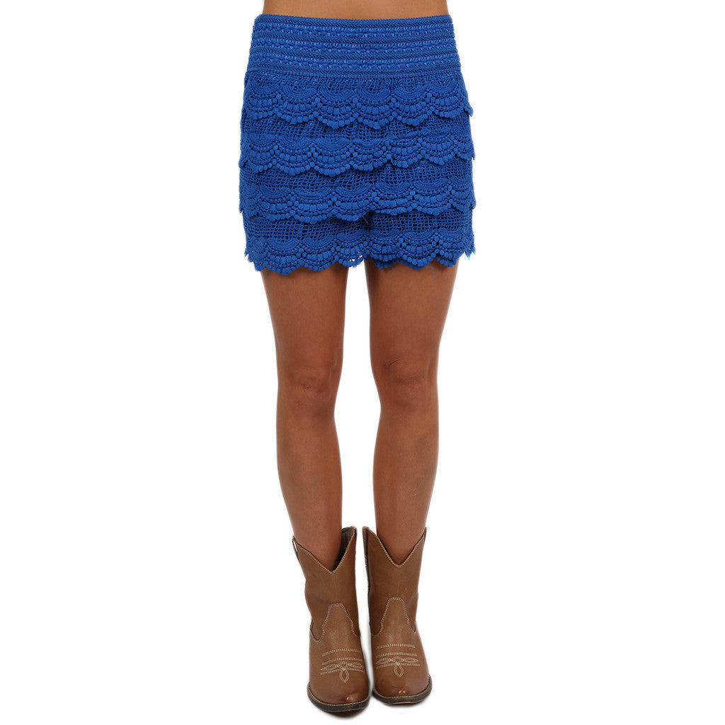 Front Row Cheers Shorts in Royal Blue