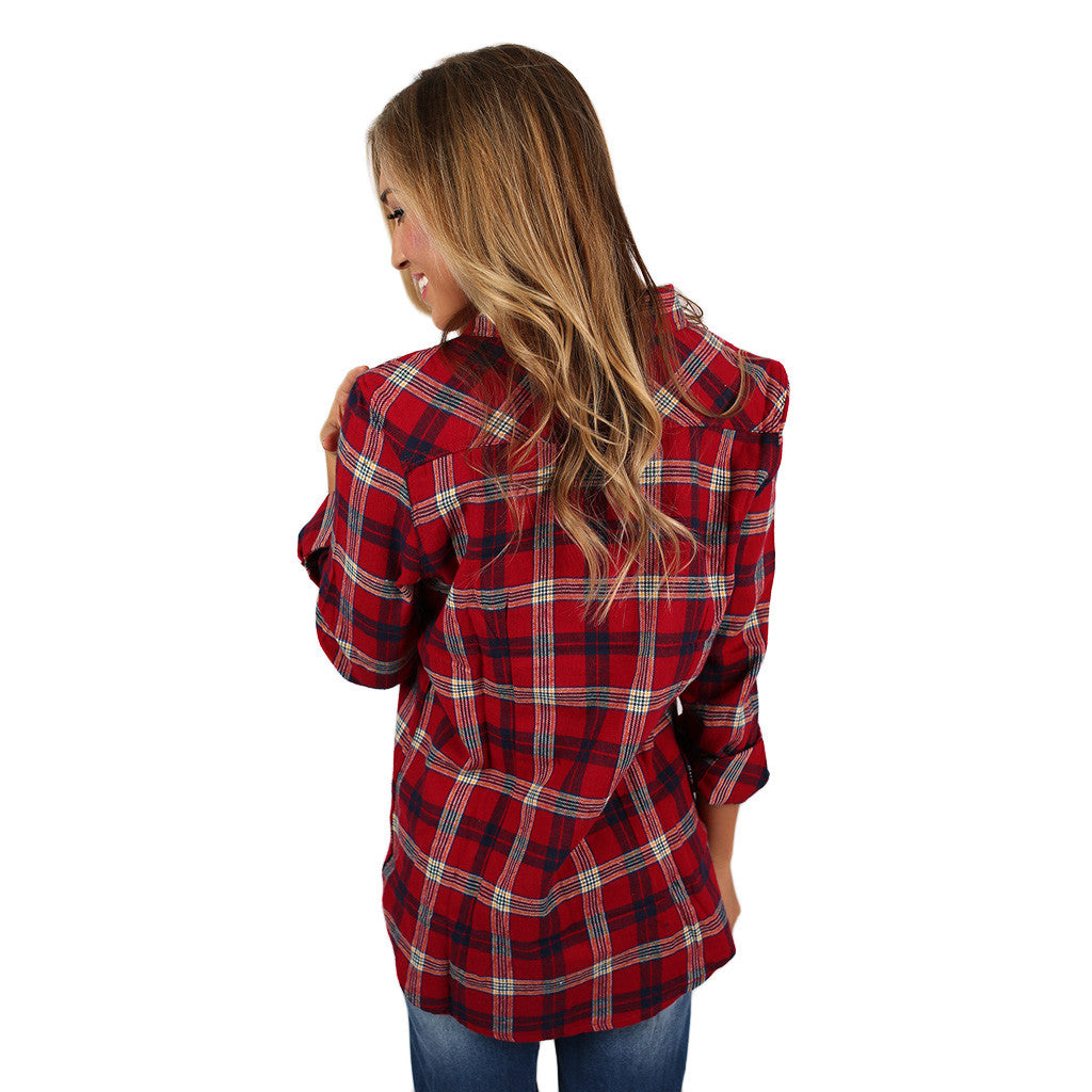 Sweet Tea Sipping Button Up in Red
