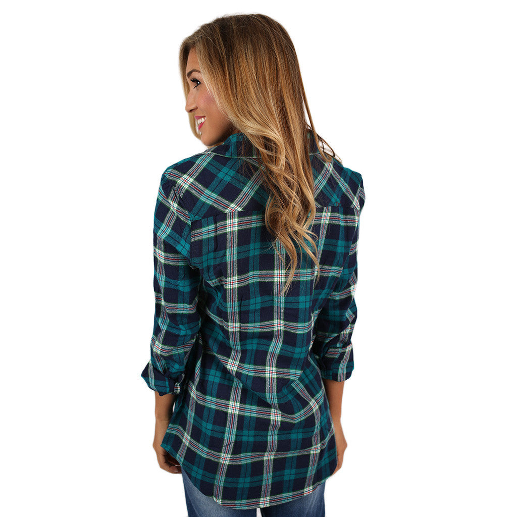Sweet Tea Sipping Button Up in Teal