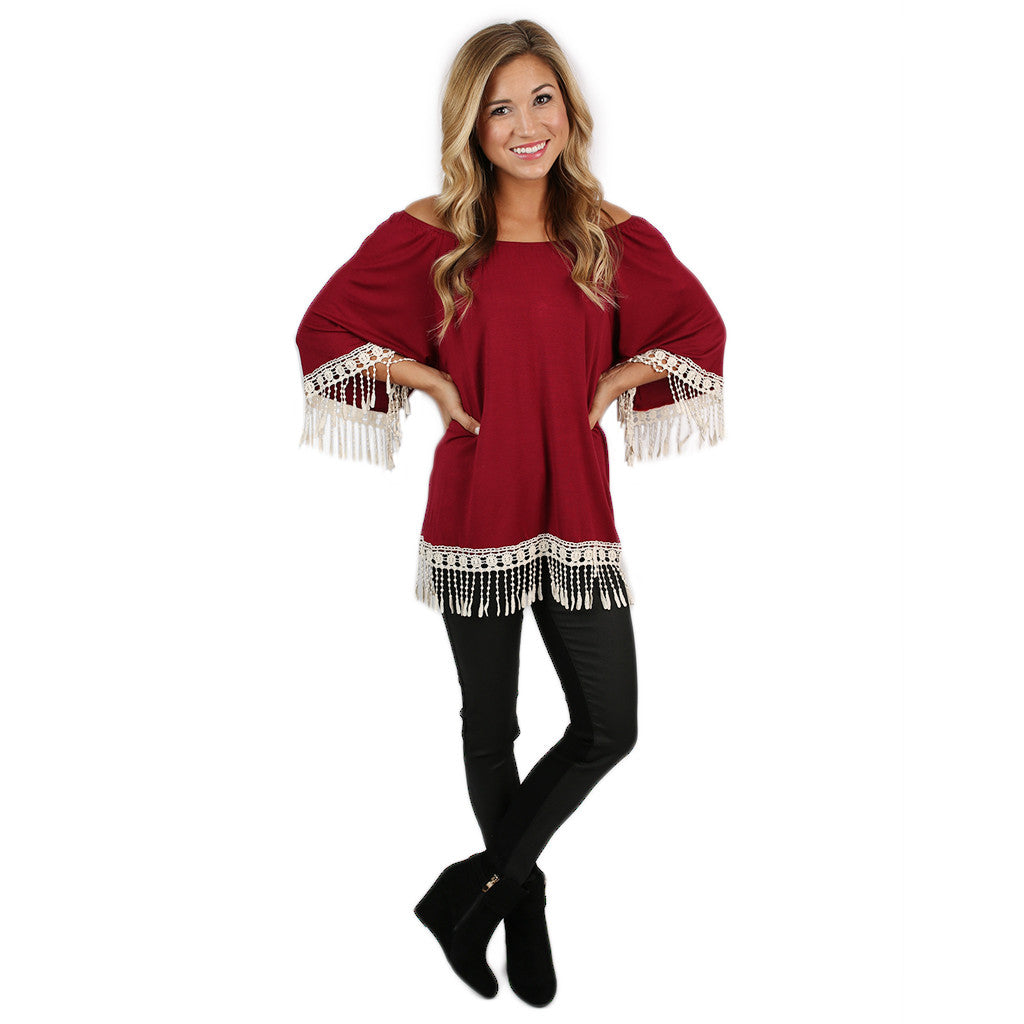 Cheers to the Weekend Tunic Burgundy