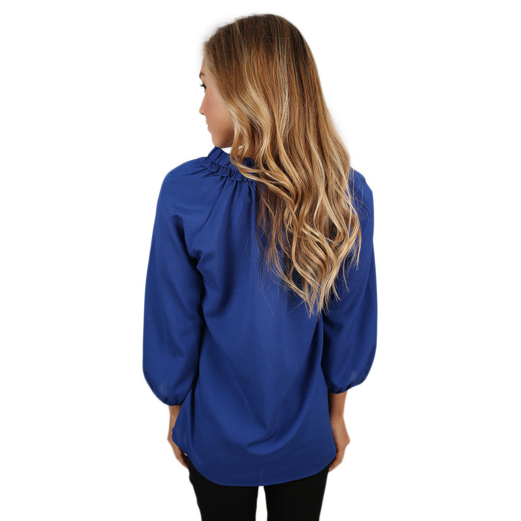 Sunsets In Capri Top in Royal Blue