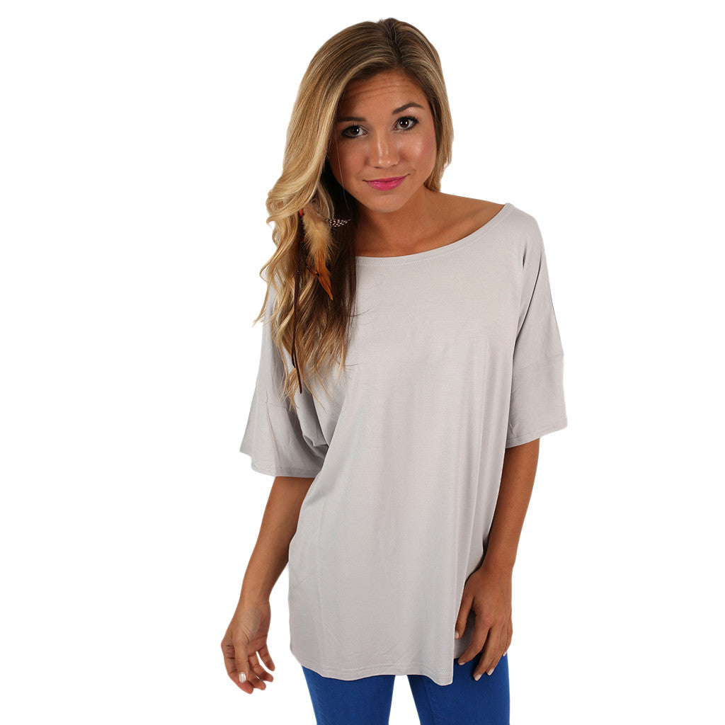 PIKO Loose Fit Tee in Silver