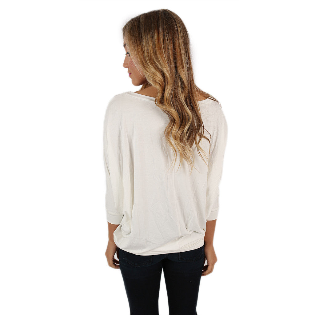 Color Me Lovely Dolman Tee in Ivory