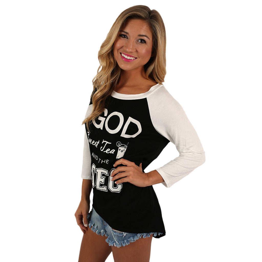 SEC Baseball Tee in Black