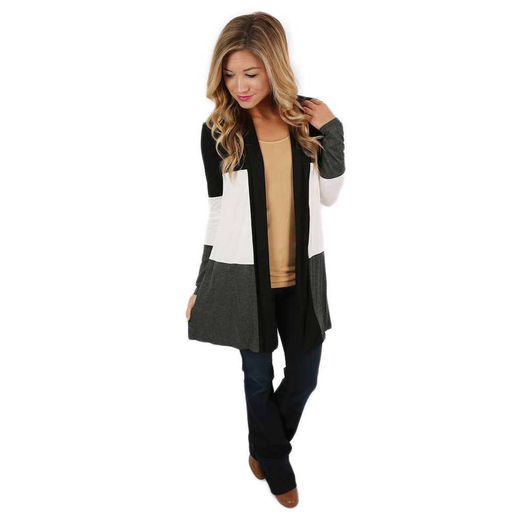 Stripes For Days Cardi in Charcoal