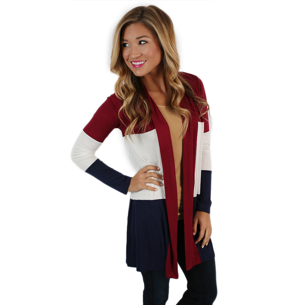 Stripes For Days Cardi in Wine