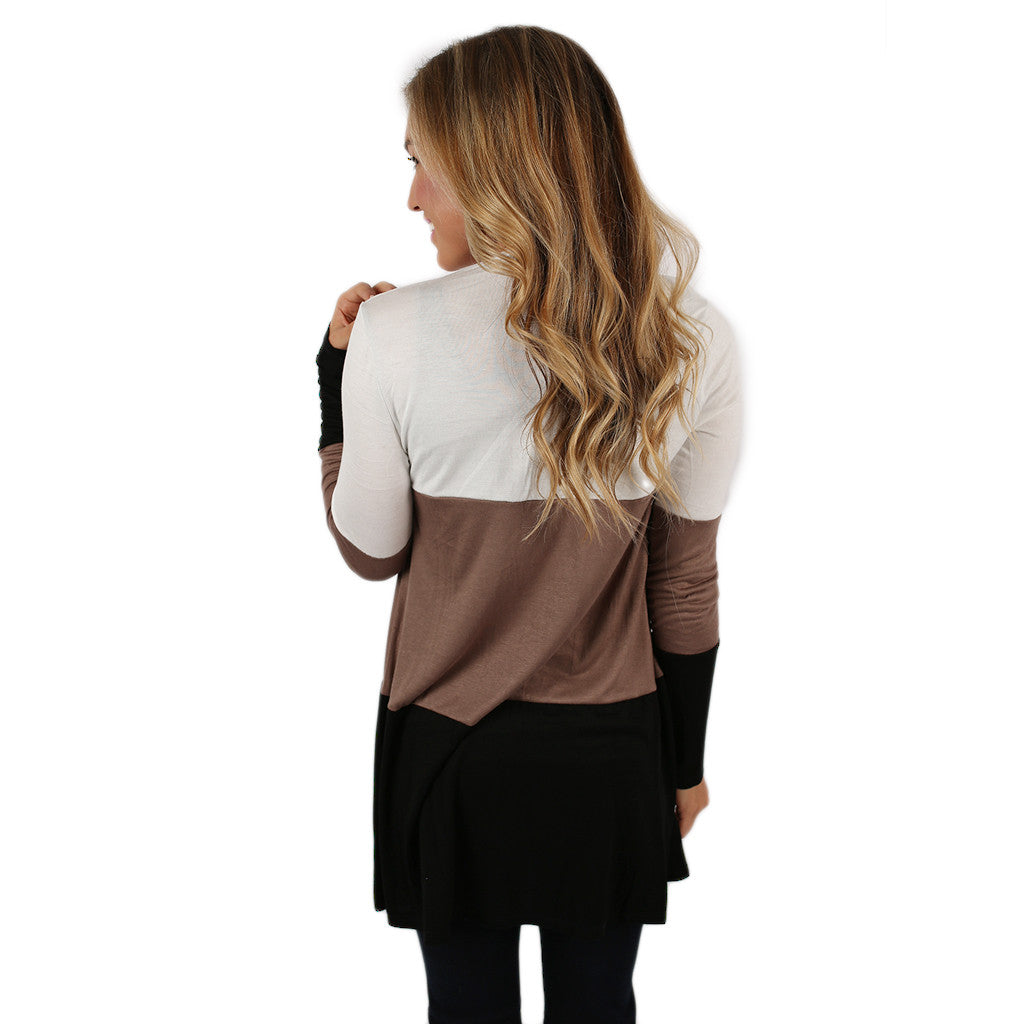 Stripes For Days Cardi in Mocha