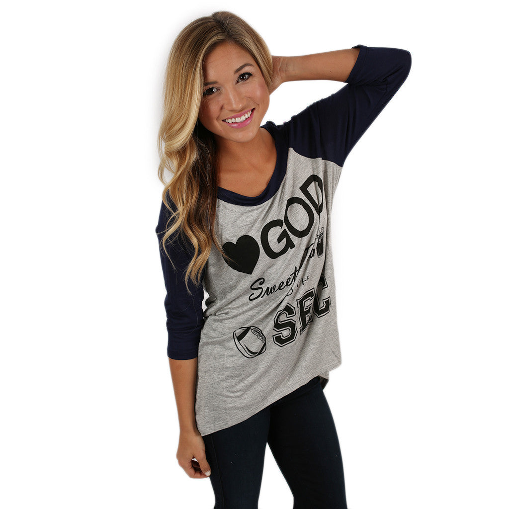 SEC Baseball Tee in Grey