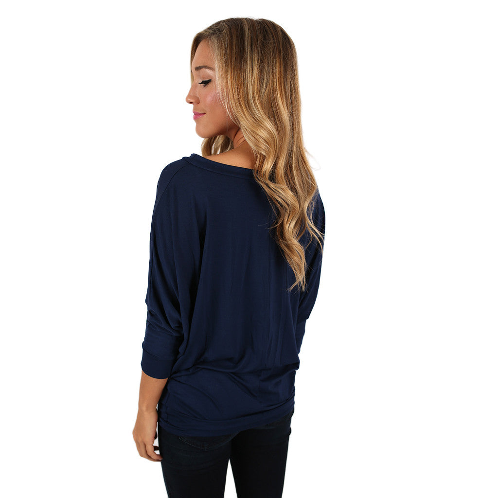 Color Me Lovely Dolman Tee in Navy