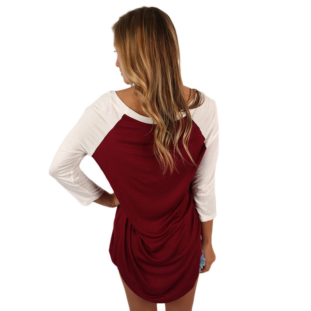 SEC Baseball Tee in Burgundy
