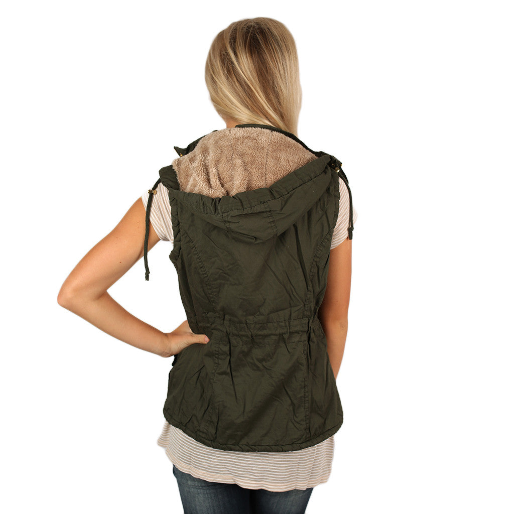 Lost in Paris Faux Fur Lined Vest in Forest
