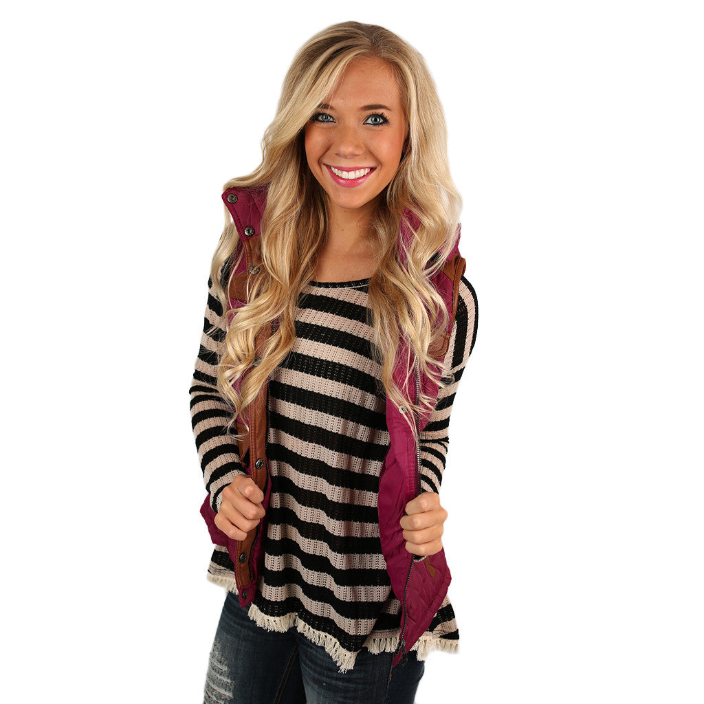 Fall is Calling Vest in Magenta