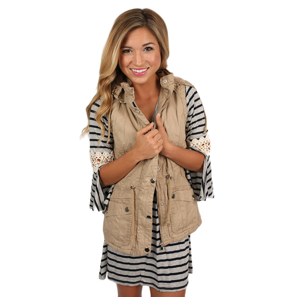 Lost in Paris Faux Fur Lined Vest in Beige
