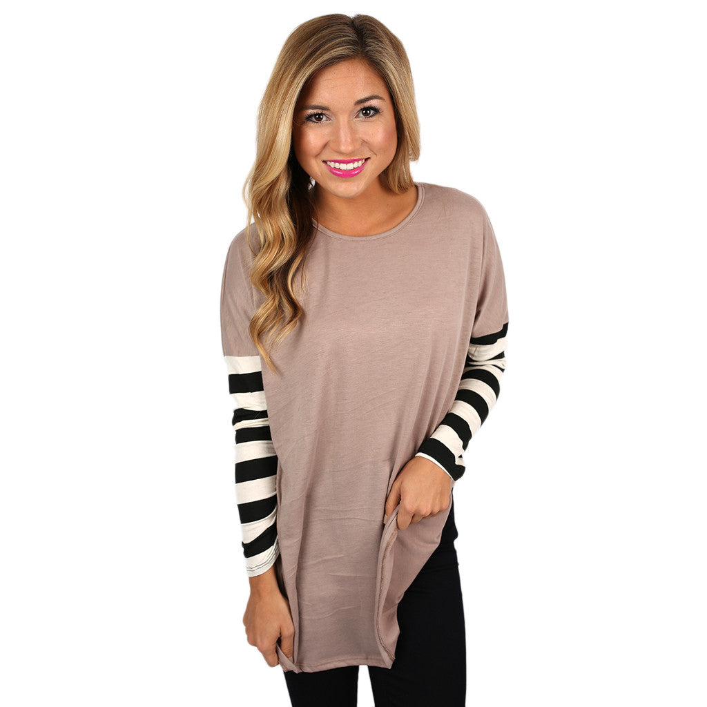 Time for Stripes Tee in Taupe