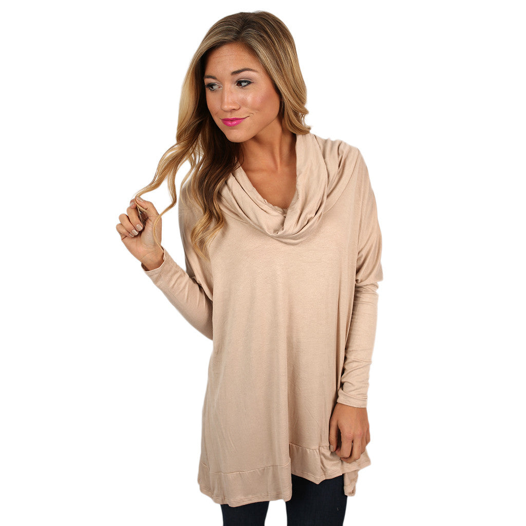 Dressed To Impress Tunic Top in Taupe