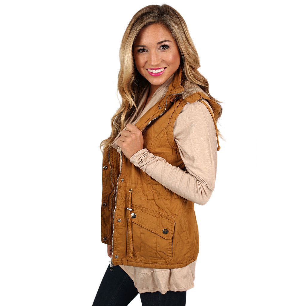 Lost in Paris Faux Fur Lined Vest in Mustard