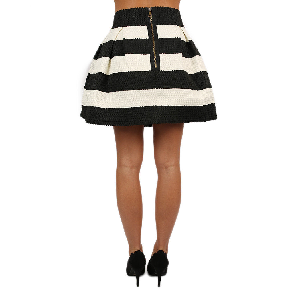 Perfectly Striped Skirt Ivory