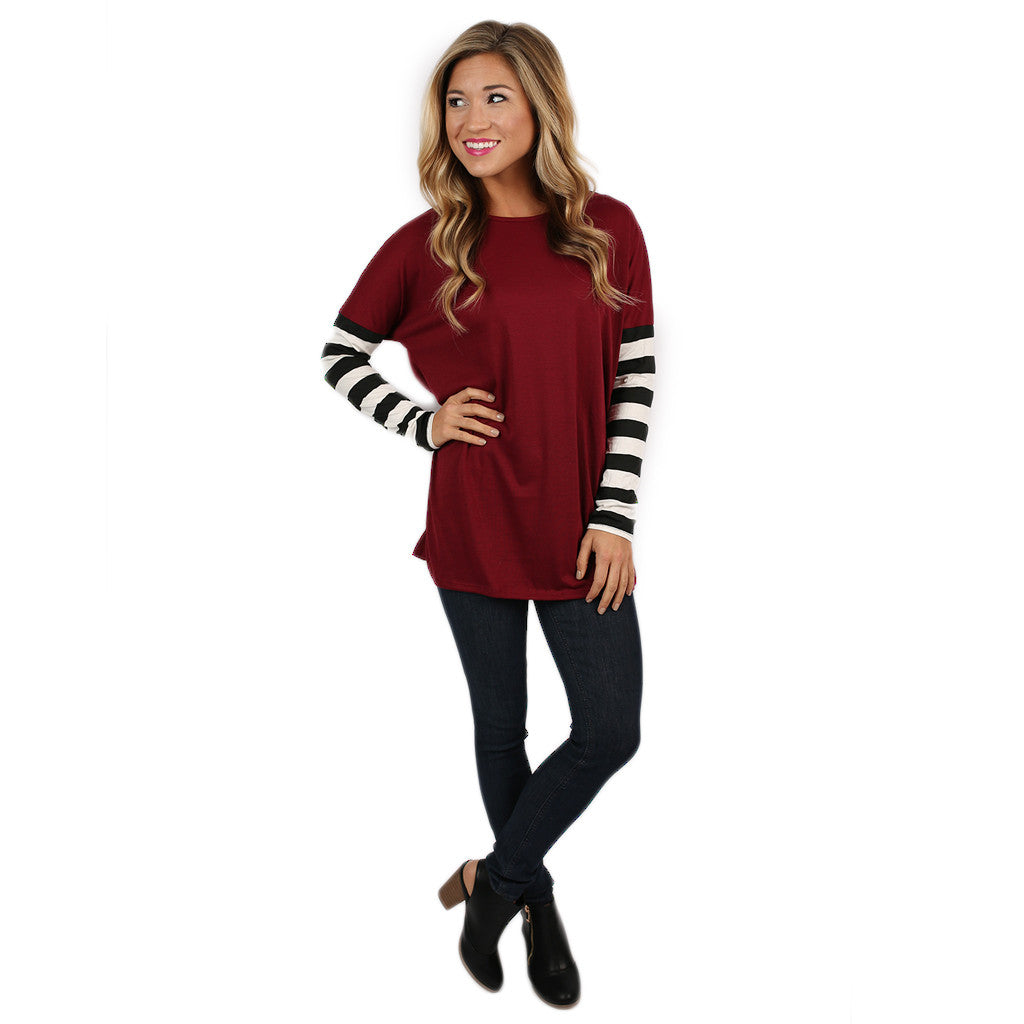 Time for Stripes Tee in Burgundy