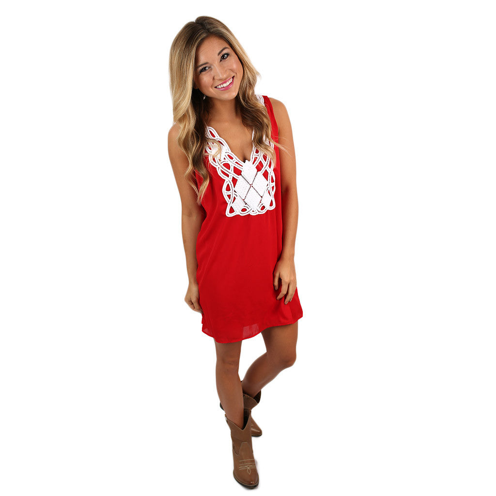 Here to Win Dress Red/White