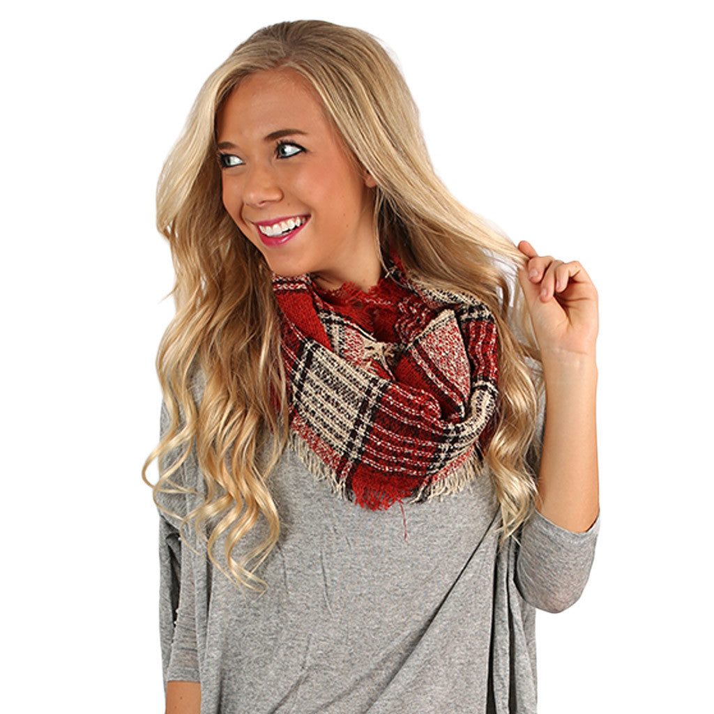 Plaid Days Infinity Scarf Red