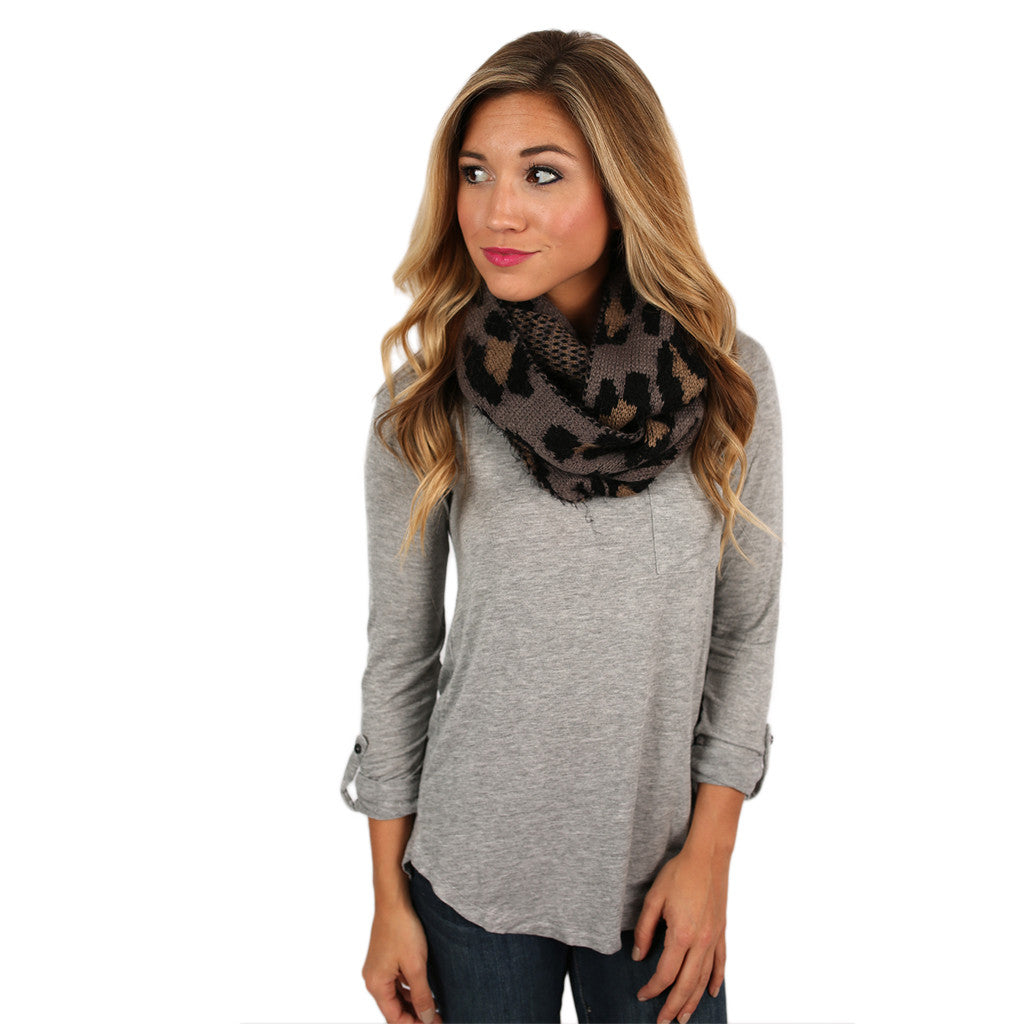 Cheetah Chic Infinity Scarf Grey