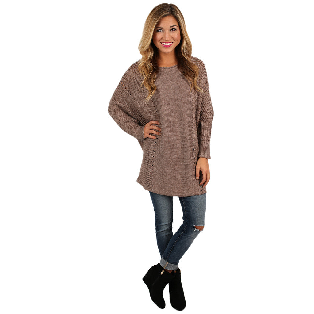 Just So Cozy Tunic Sweater in Taupe
