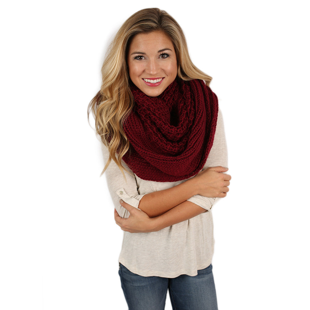 Keeping It Cozy Infinity Scarf Burgundy