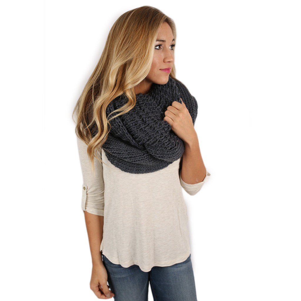 Keeping It Cozy Infinity Scarf Charcoal