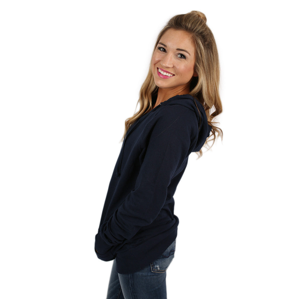 Simply The Comfiest Fleece Lined Hoodie in Navy