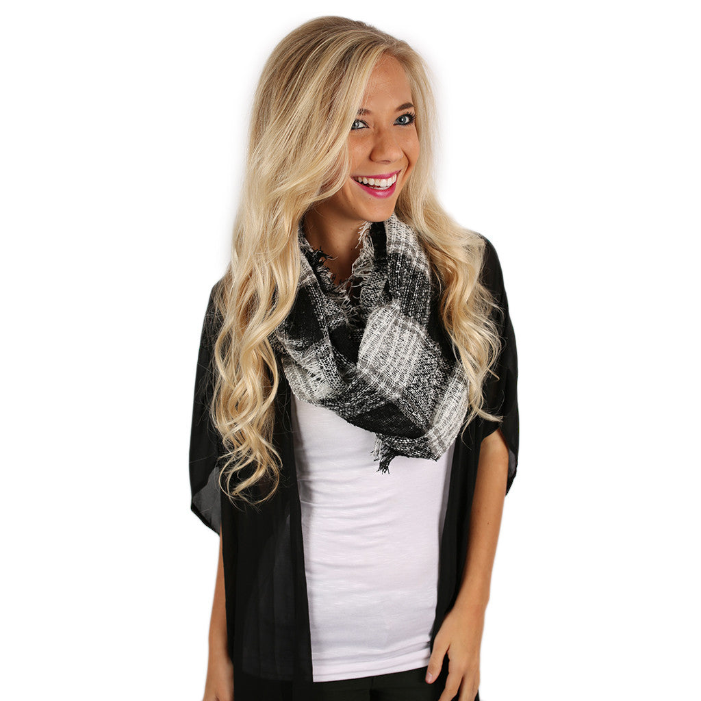Plaid Days Infinity Scarf Black