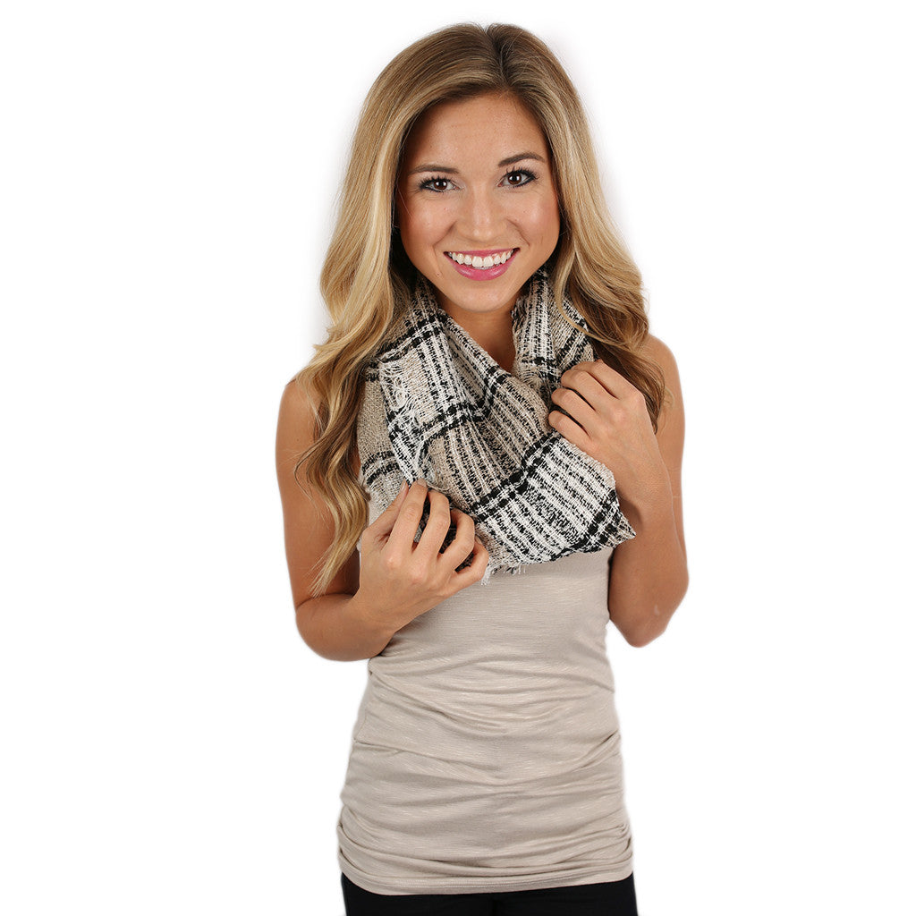 Plaid Days Infinity Scarf Khaki