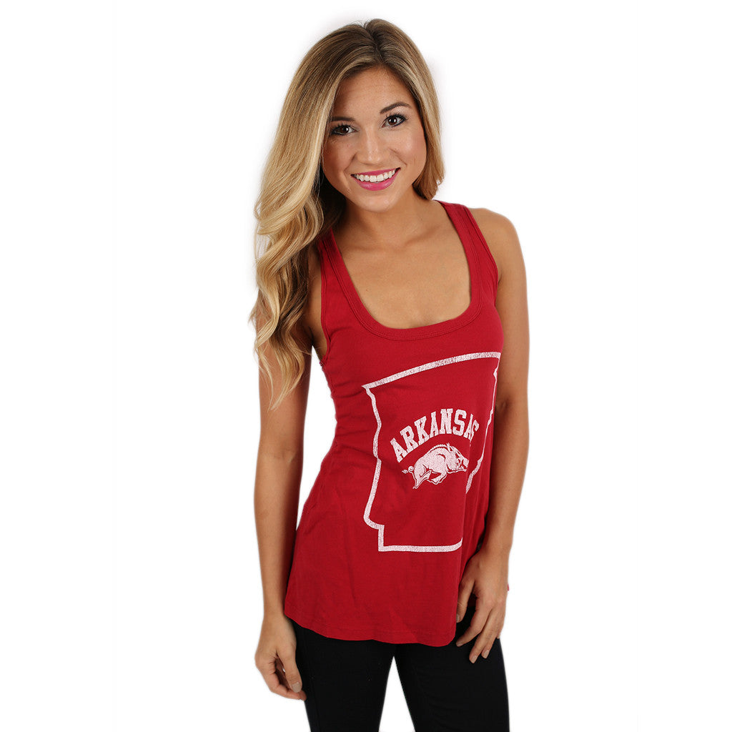 Red Slub Racer Tank