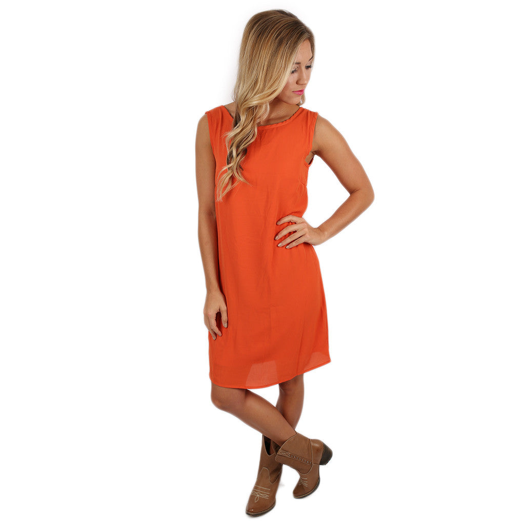 Bows & Kisses Sleeveless Dress Orange