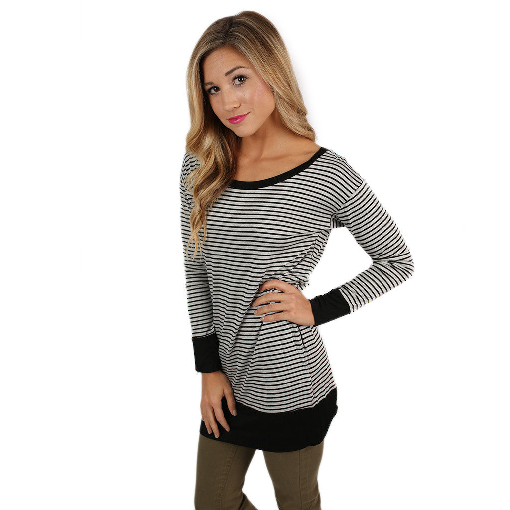 Saturday Morning Stripes Top Heather Grey