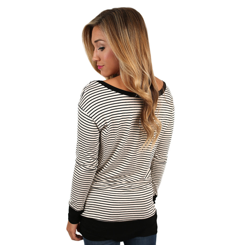 Saturday Morning Stripes Top Ivory