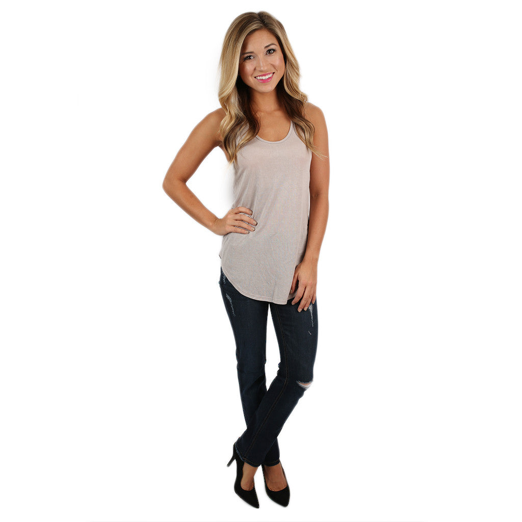 Good Luck Charm Tank in Taupe