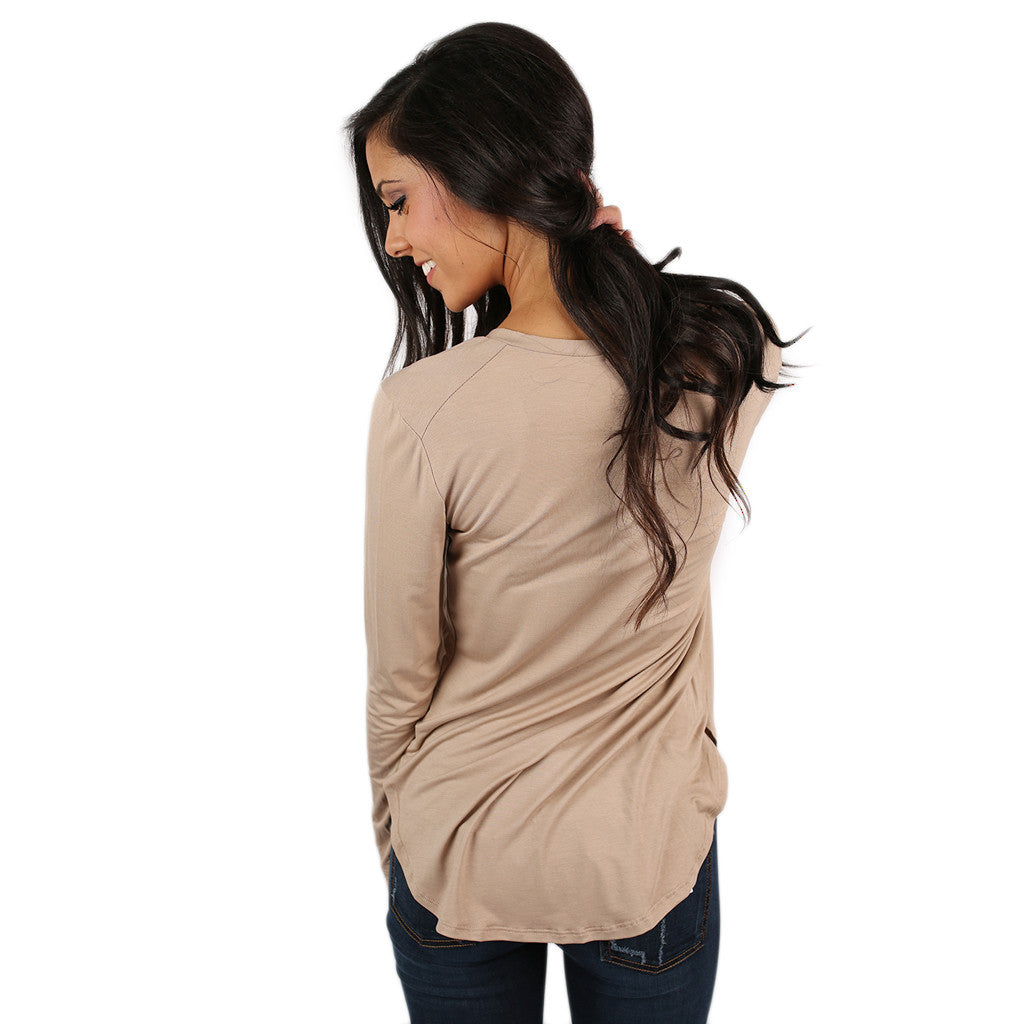 At First Crush V-Neck Tee in Taupe