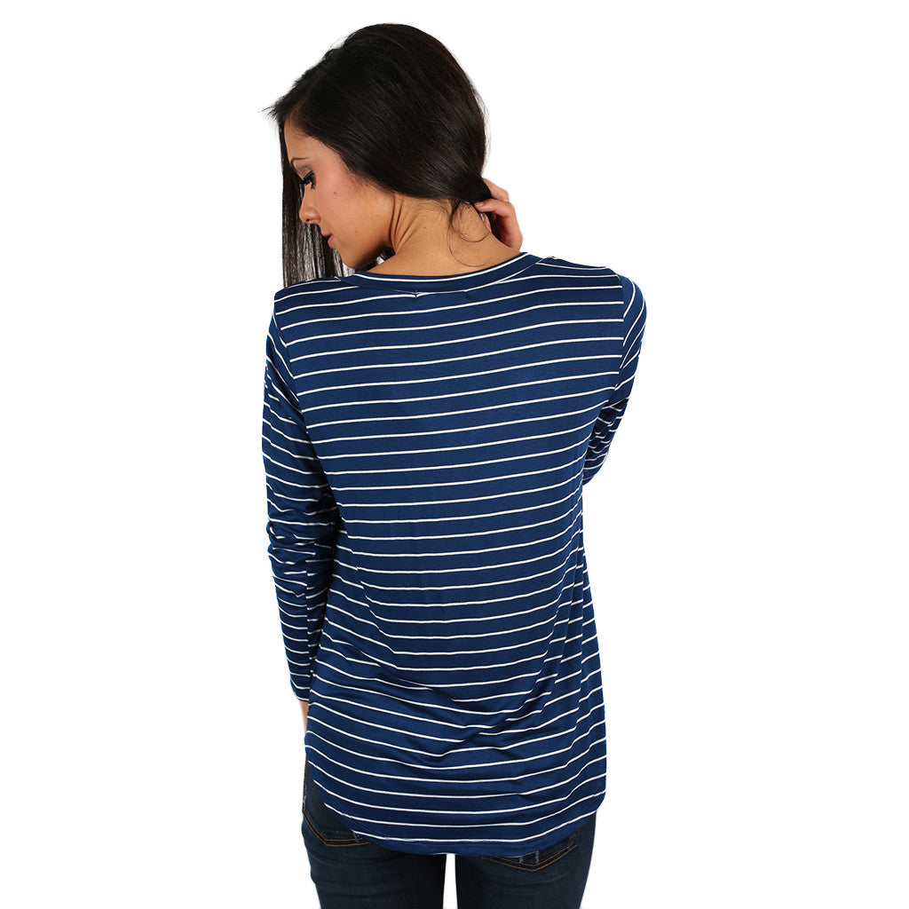 Tricks Of The Trade Stripe Tee in Navy