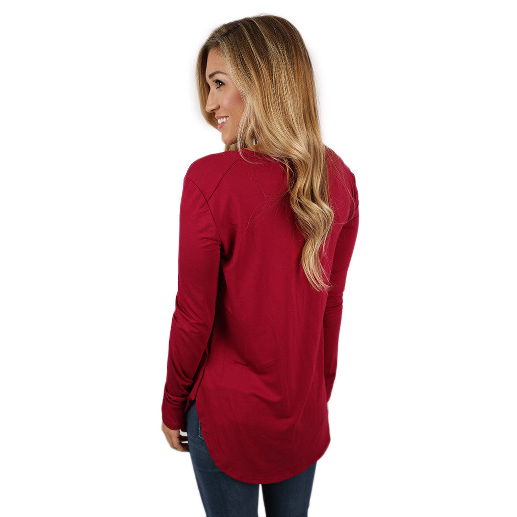 At First Crush V-Neck Tee in Burgundy