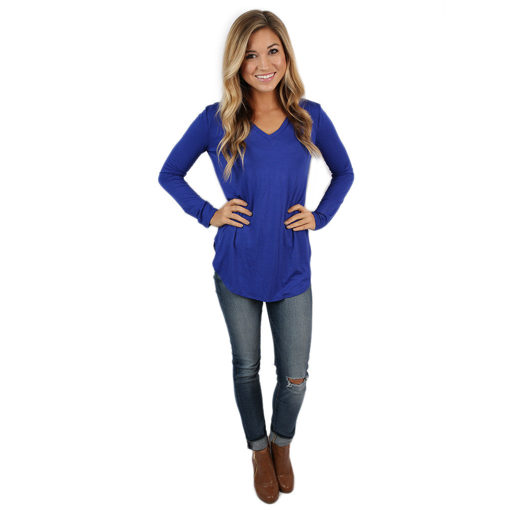 At First Crush V-Neck Tee in Royal Blue