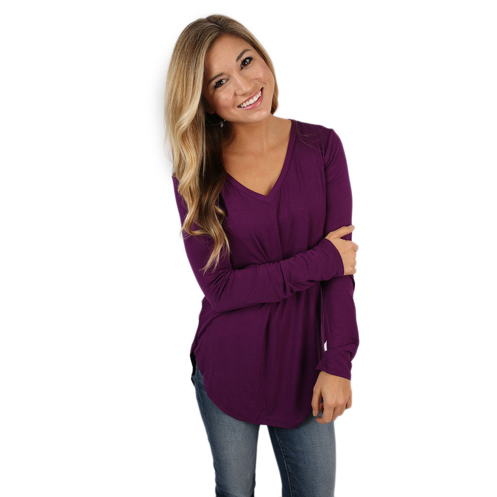At First Crush V-Neck Tee in Purple