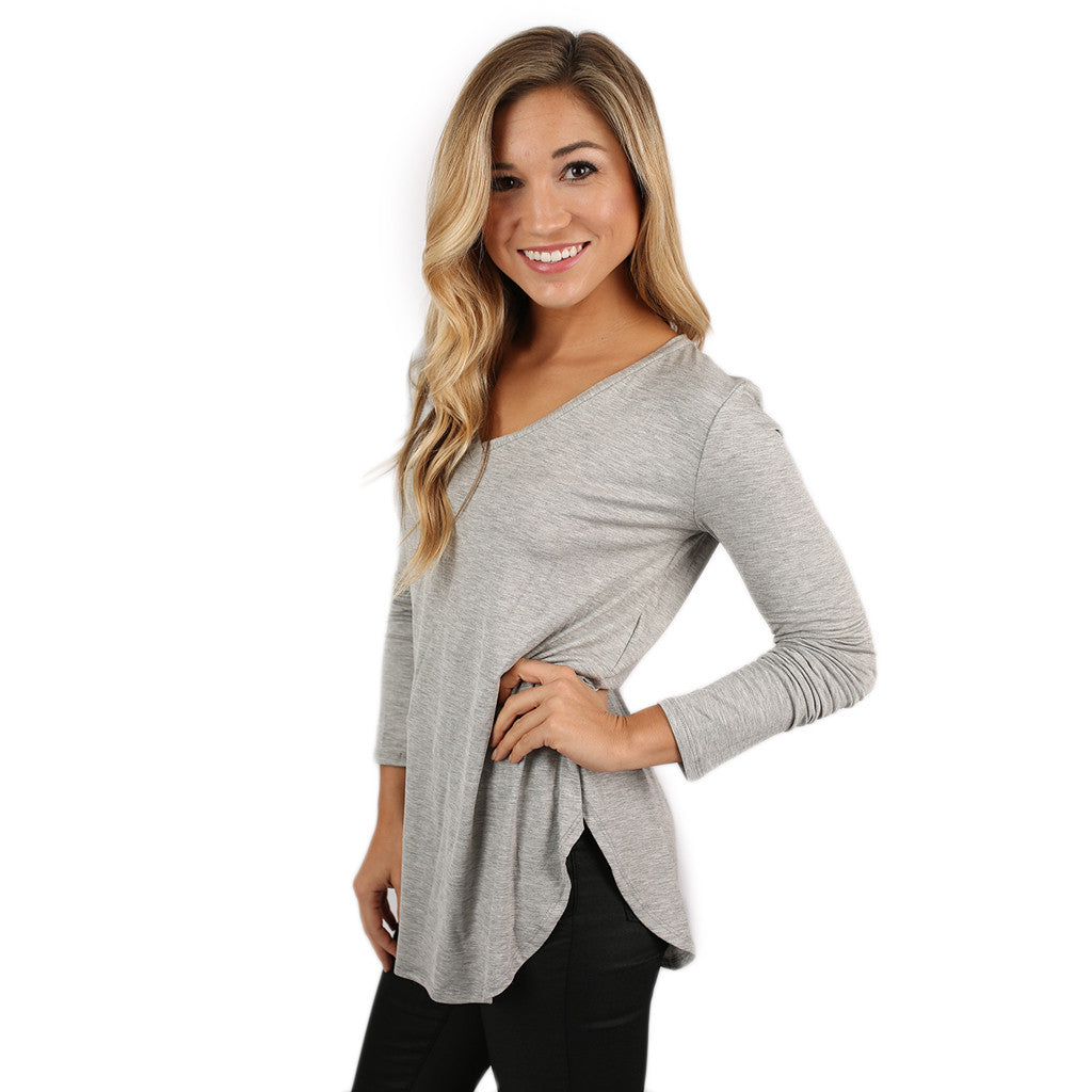 At First Crush V-Neck Tee in Grey