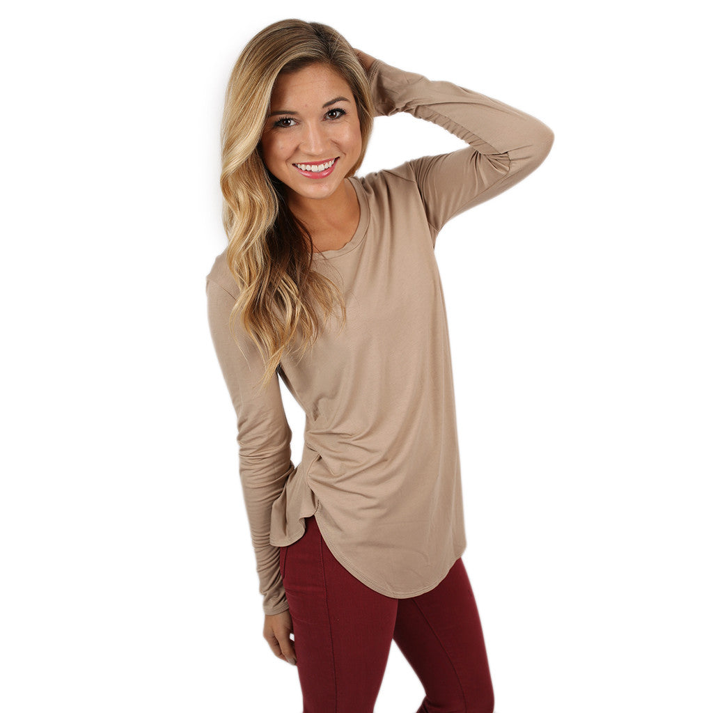 At First Crush Scoop Tee in Taupe